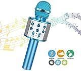 Wireless Bluetooth Karaoke Microphone,Rechargeable Kids Microphone Karaoke Machine,Professional Handheld Karaoke Mic Speaker Home KTV Kids Outdoor Birthday Party - Best Gifts for Kids Adults (Blue)