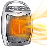 Portable Electric Space Heater with Thermostat, 1500W/750W Safe and Quiet Ceramic Heater Fan, Heat...