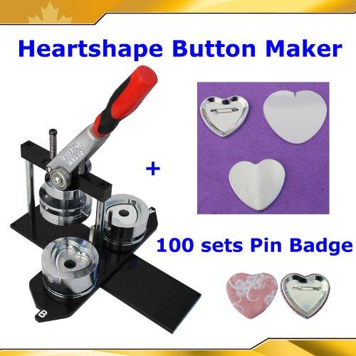 """Badge Button Maker Kit! Heart Shape Machine+100 Pinback Supplies 2-1/4"""" 57mm"""