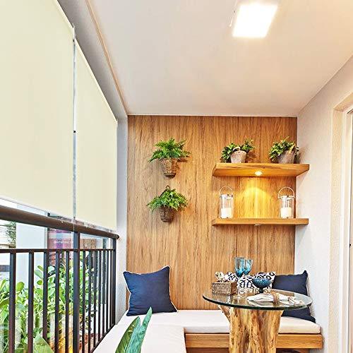 HENGMEI 180X240cm Balkon Sichtschutz Sonnenschutz Sichtschutzrollo Senkrechtmarkise Wasserdicht Windschutz vertikal Sonnensegel für Balkon Terrasse,Beige
