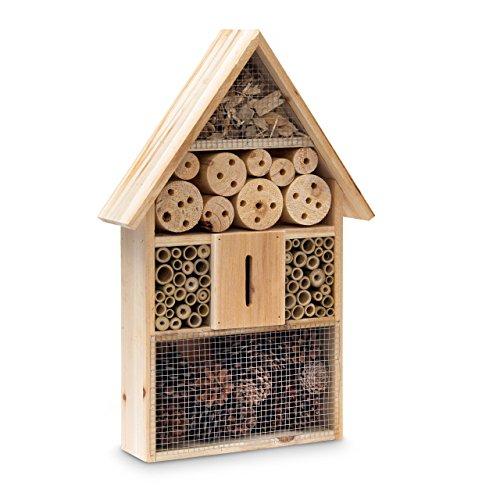 Relaxdays Insektenhotel HBT 48 x 31 x 10 cm Bienenhotel aus Naturmaterialien als Unterschlupf für Käfer, Bienen, Wespen und Schmetterlinge Insektenhaus aus Holz mit Spitzdach, Natur