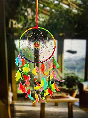 ILU® Dream Catchers Wall Hanging Handmade Beaded Circular Net Decoration Assorted (Size 16 cm Diameter)