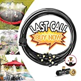 """Misting Cooling System Water Irrigation Fan Misting Mister Kit 33FT (10M) Misting Line + 12 Brass Mist Nozzles + 3/4"""" and 1/2"""" PVC Adapter for Outdoor Patio Garden Greenhouse"""