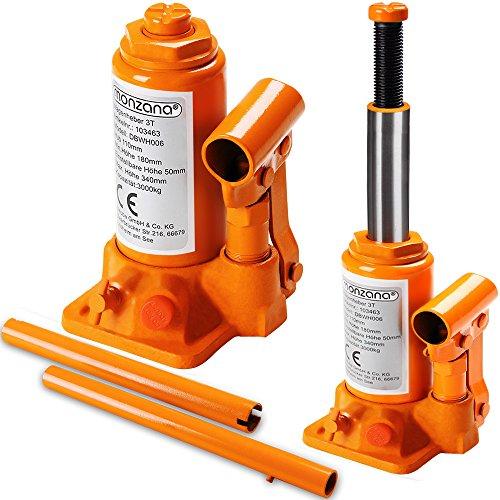 Monzana® Wagenheber hydraulisch 3 Tonnen Stempelwagenheber - Modellwahl 2t, 3t, 5t, 8t, 10t, 20t | aus stabilem Stahl | platzsparend verstaubar