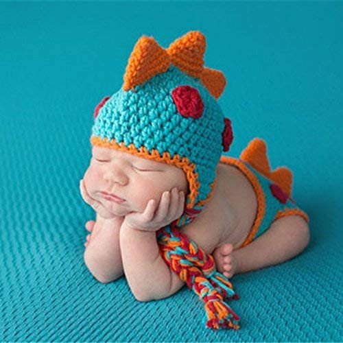 Crocheted Baby Boy Dinosaur Outfit Newborn Photography Props...