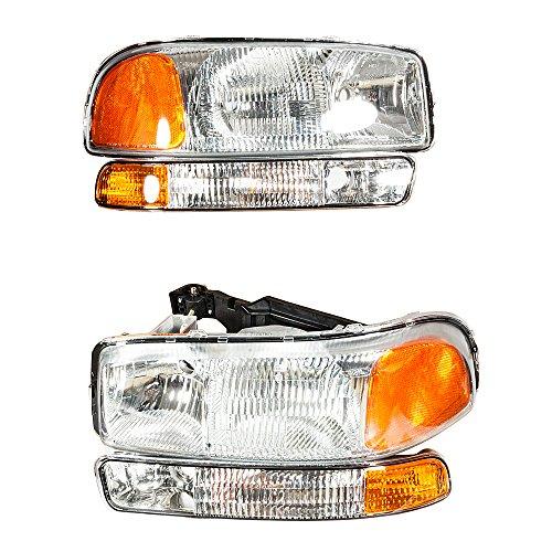 4Pcs Headlights Assembly + Bumper Corner Parking Lamps for GMC 1999-2006 Sierra 1500 & 2001-2004 Sierra 2500 & 2001-2006 Sierra 3500 & 2000 2001 2002 2003 2004 2005 2006 GMC Yukon