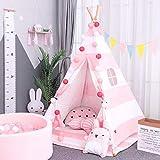 AllRight Tipi Enfant Intérieur Jeu Tente Maison Jardin pour Enfants Fille Rose...