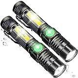 AOMEES LED Taschenlampe Extrem Hell Wiederaufladbar Magnet Mini Taschenlampe Aufladbar Arbeitsleuchte Zoombar 18650 Akku Wiederaufladbar COB USB Taschenlampen Wasserdicht 4 Modi für Camping im Freien