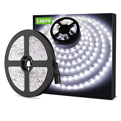 LE Striscia LED 5m 300 LED SMD 2835 Bianco Diurno 6000K, 18W 1200lm Luce Nastro Luminoso Flessibile, Strisce LED 12V per Illuminazione Domestica, Magazzino, Negozio, ecc.