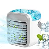 Portable Air Conditioner Fan, Personal Space Mini Evaporative Air Cooler Super Quiet Desk Fan with Handle, Humidifier Misting Fan, 3 Speeds, 7 Colors LED Light for Home, Office, Room