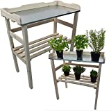 PROHEIM Table de rempotage/Jardinage 82 x 78 x 38 cm en Blanc - Table de Jardin pour Pots de Fleurs en Bois FSC impregné et Surface de Travail en métal galvanisé