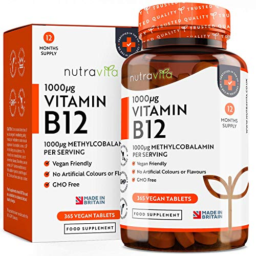 Vitamina B12 Vegana 1000mcg Alta Potencia - 365 Comprimidos Vegana...