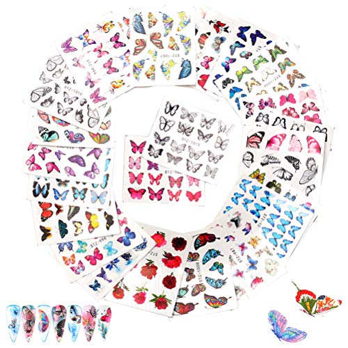 30 Sheets Butterfly Nail Art Stickers, Water Transfer Nail Decals Stickers Butterfly Flowers Design Manicure Tips Nail Decorations Accessories for Women Girls Colorful Nail Art Supplies