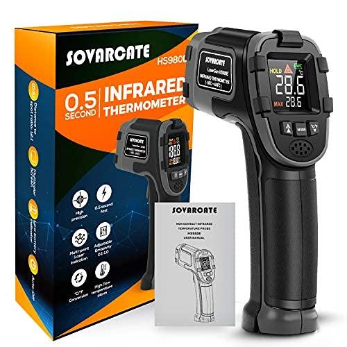 Thermomètre Infrarouge SOVARCATE Pistolet Temperature Infrarouge Simple d'Utilisation -58℉~1112℉ (-50℃ ~ 600℃) Emissivité Ajustable et Large Ecran LED Thermometre Cuisine avec Fonction D'alerte