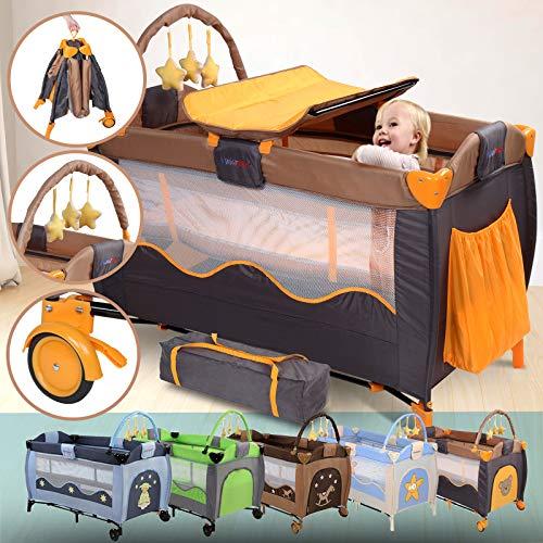 Lit Parapluie Bébé - 126x66x82 cm, avec Table à Langer, Arche de Jeux, Sac de Transport, à Roulettes, Hauteur Réglable, Couleur au Choix - Lit de Voyage Bébé, Lit Pliant