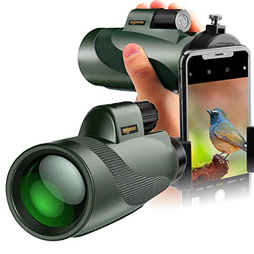 SOLOMARK 12x50 High Power Monocular and Quick Phone Adapter Holder - Bright and Clear Single Hand Focus - For Bird Watching Camping Travelling or Watching Wildlife
