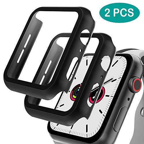 GeeRic 2PCS Pellicola Vetro Temperato Compatibile per Apple Watch 40mm Serie 4/Serie 5, HD Cover Resistente a Urti Pellicola Copertura Completa Custodia Compatibile per Apple Watch 40mm Serie 5/4 Nero