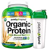 Purely Inspired Organic Protein Shake Powder + Shaker Bottle, 100% Plant Based with Pea & Brown Rice Protein (Non-GMO, Gluten Free, Vegan Friendly), French Vanilla, 4lbs