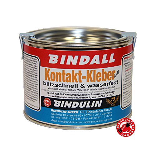 Kontaktkleber BINDALL 200 g - Bindulin Profipack hell Neoprenkleber wasserfest geruchsarm für Neopren Holz Glas Leder Keramik Filz Gummi Plexidur. temperaturbeständig +70°C - Reparatur