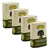 Kalliston | Olive Soap with Olive Leaf Extract | Pure Traditional | All Natural | Made in Ancient Crete, Greece | (Pack of 4)