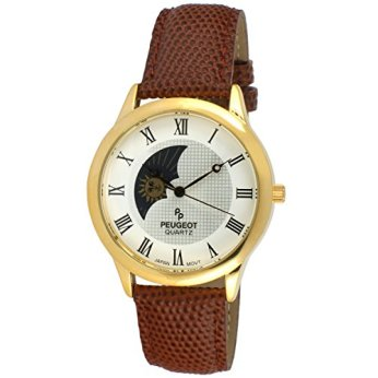 Peugeot Men's 14K Gold Plated Sun Moon Phase Vintage Dress Analog Watch with Leather Strap, Brown