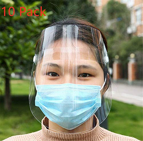 Disposable Safety Face Shield,Anti-fog Full Protection Mask for Pollen, aerosols, sprays, and splatters (10)