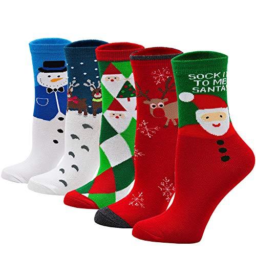 PUTUO Calze Fantasia Donna Calzini Divertenti di Cotone, Calzini di Natale Donna Calze Animali Invernali Termici, 5 paia