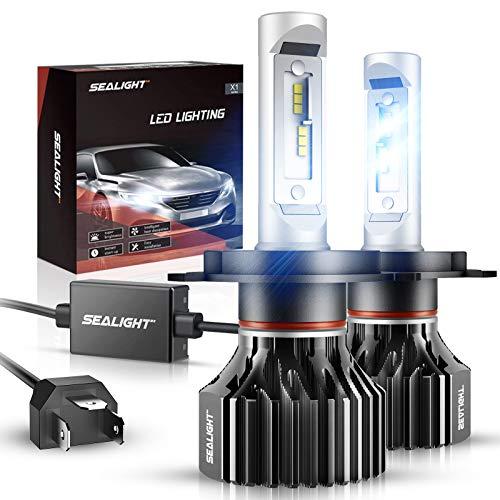 SEALIGHT H4/9003/HB2 LED Headlight Bulbs X1 Series Dual High/Low Beam Xenon White 6000K 6000LM