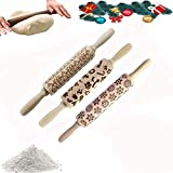 3D Embossed Wooden Rolling Pin, Engraved Embossing Rolling Pin with Various Decorative Pattern for Baking Embossed Cookies