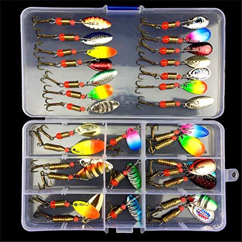 RoseFlower Kit di Esche da Pesca, 31 Pcs Esche Cucchiaino Artificiale Pesca Richiamo Set per Trota, Persico, Luccio Spoon Kit- Esche da Spinning Accessori con Vermi, Esche Dure, Ganci Singolo, Insetti