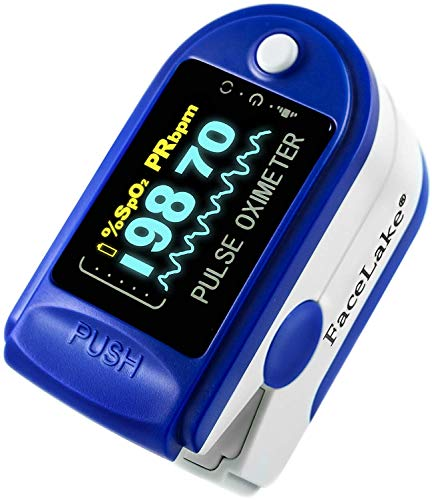 FaceLake FL350 Blue Pulse Oximeter with Carrying Case, Lanyard & Batteries