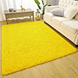 Amearea Premium Soft Fluffy Rug Modern Shag Carpet, High Pile, Solid Color Plush Rugs for Bedroom Dorm Room Teen Apartment Decor, Comfortable Indoor Furry Carpets, Yellow 4x5.3 Feet