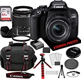 Canon EOS 800D (Rebel T7i) DSLR Camera w/Canon EF-S 18-55mm Zoom Lens, 64GB Memory Card, Camera Case