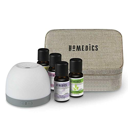 Homedics Essential Oil & Diffuser Gift Set - Aromatherapy Kit with Essential Oils, Ultrasonic Diffuser, Replacement Pads, USB, Travel Case