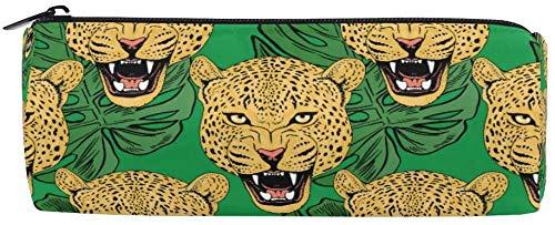 Astucci leopardati pantera tropicale foglie con cerniera astuccio per matite per ragazze e ragazzi,...