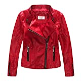 LJYH Girls'Faux Leather Quilted Shoulder Motorcycle Jacket Red