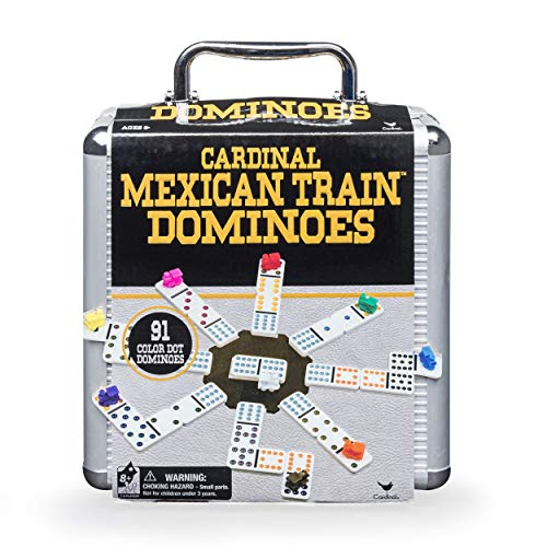 Mexican Train Dominoes Game in Aluminum Carry Case