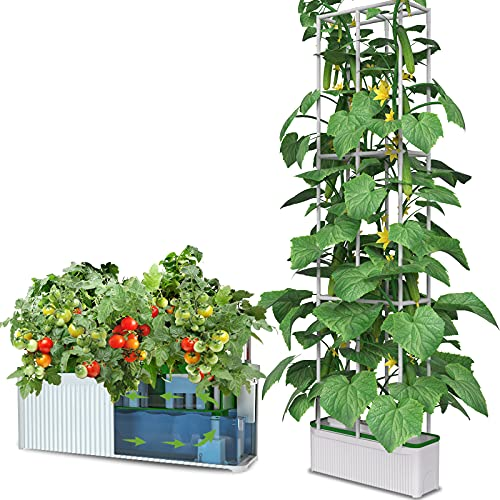 eSuperegrow Hydroponics Growing System for Indoor Outdoor Garden,7L Large Hydroponic Gardening System with Trellis for Cucumber Tomato Pepper Mint,Ideal Gardening Gifts for Women(Pump,7L,Trellis)