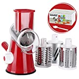 Cambom Rotary Cheese Grater Shredder Chopper Round Tumbling Box Mandoline Slicer Nut Grinder Vegetable Slicer, Hash Brown, Potato with Strong Suction Base With FDA Certification