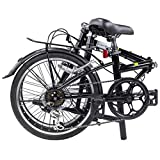 "Dahon Dream D6 Folding Bike,20"" Steel Frame 6-Speed Shimano Gears Foldable Bicycle for Adults, Black"