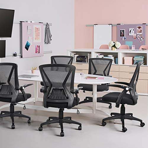 Product Image 7: QOROOS Mid Back Mesh Office Chair Ergonomic Swivel Black Mesh Desk Chair Flip Up Arms with Lumbar Support Computer Chair Adjustable Height Task Chairs