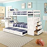 Wood Bunk Bed for Kids, Twin Over Twin Bunk Bed Frame with Trundle and Staircase, White Finish