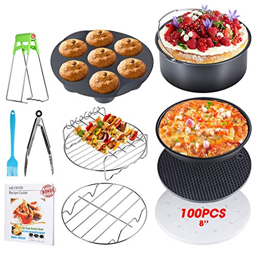 8 Inch Air Fryer Accessories, Set of 10, XL Air Fryer Accessories with Recipe Cookbook for Gowise Phillips USA Cozyna Airfryer, Fit all 3.7QT-5.3QT-5.8QT-6.8QT