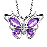 Aurora Tears 925 Sterling Silver Butterfly Necklaces February Birthstone Purple Amethyst Pendant Jewelry Necklace for Women Girls DP0013P