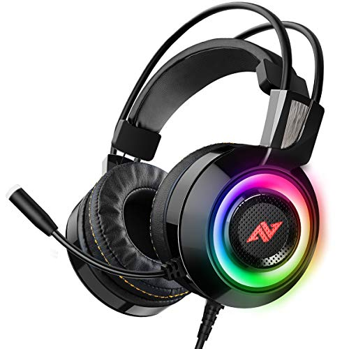 ABKONCORE CH60 Gaming Headset with True 7.1 Surround Sound for PC, PS4, Laptop, Bass Vibration, Noise Cancelling, Soft Earmuffs Headphones with Mic, LED Light, in-line Controller for FPS Games