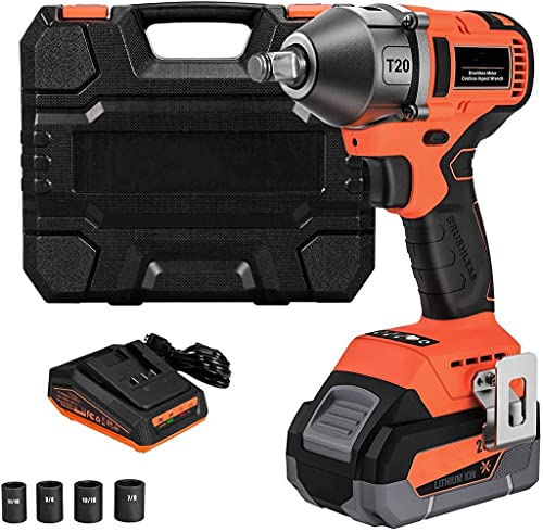 Power Impact Wrench, 20V Brushless High Torque Impact Wrench Kit, 1/2-Inch Impact Gun With Hog Ring, Max Torque 370 Ft-Lbs (550N·m), Cordless Impact Wrench with 4.0Ah Li-Ion Battery, Quick Charger & 4 Sockets - T20
