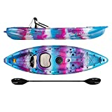Vibe Kayaks Skipjack 90 9 Foot Angler and Recreational Sit On Top Light Weight Fishing Kayak (Blue Camo) with Paddle and Seat and 2 Flush Rod Holders and Built in Storage