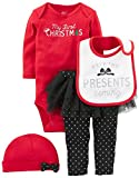 Simple Joys by Carter's Baby Girls' 4-Piece My First Christmas Set, Red/ Black Tutu, 12 Months