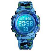 Reloj para niños, Enjoyfeel Relojes Digitales de Camuflaje Deportivo, Luminoso Reloj de Pulsera de electrónico Resistente al Agua para niños niñas (Blue)