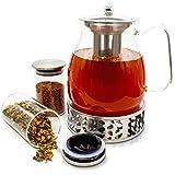 JOYTASTE Teekanne Glas mit Stoevchen Set - Designer Tee-Equipment   Herausnehmbarer Siebeinsatz Edelstahl - 1.5 Liter Füllvolumen - inklusive Aufbewahrungsgläser